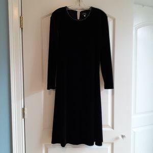 Vtg black velvet dress with beaded bling detail